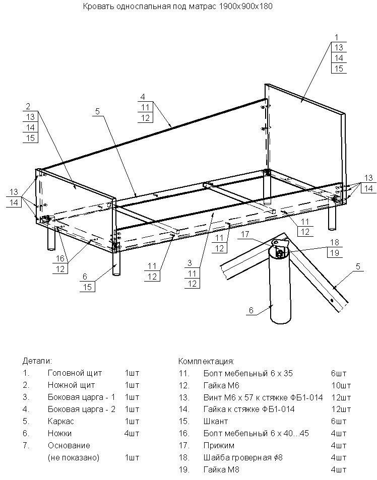 Схема сборки Кровать