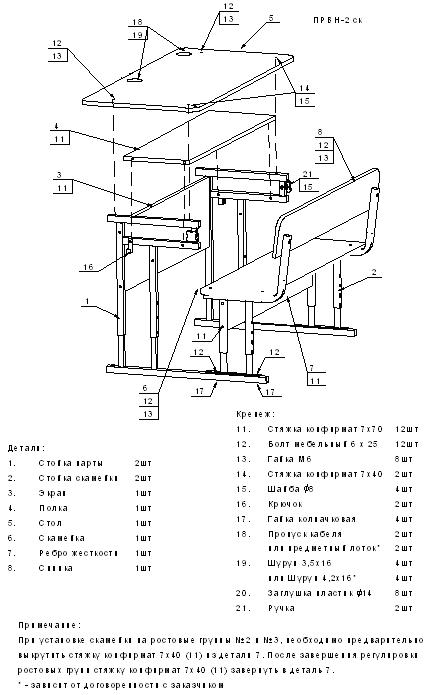 Схема сборки Парта ПРВН-2ск