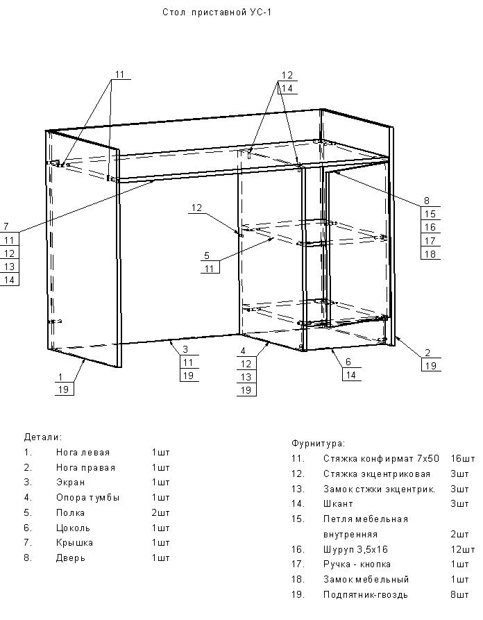 Схема сборки Стол приставной