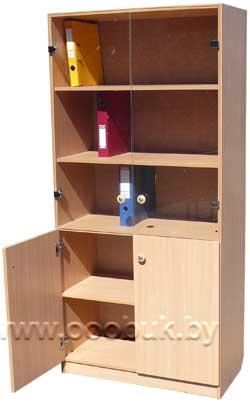 шкаф для учебных пособий шп 2с со стеклом белучколлектор