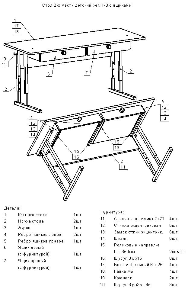Сборка стола проводится в